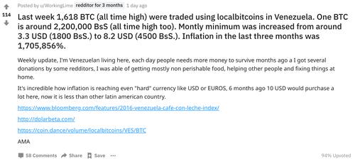 Reddit Screenshot: Venezuela LocalBitcoins
